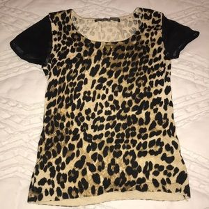 guess leopard print top with sheer black sleeves